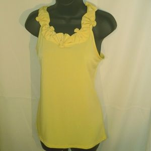 The Limited Yellow Stretch Fan-Collar Detail Top